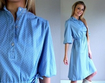 vintage 70s baby blue POLKA DOT dolly DRESS Extra Large tie waist retro indie mod