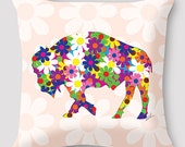 Flower Buffalo Pillow by Alison Kurek Pretty Buffalo hand sewn pillow invisible zipper