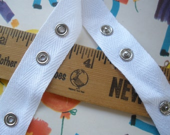 """Snap Tape White Cotton Twill silver metal 2 by 1 BTY 3/4"""" wide fasteners By the Yard cool hanger trim crafts 12L 8mm 5/16"""" snaps yardage"""