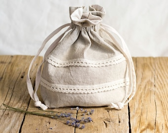 Linen and Cotton Drawstring Bag with Hand Crocheted Lace in Natural Color, French Country Storage, Rustic Home Decor
