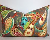 Paisley Muti Colored Pillow Cover on one side and Stripped on the other