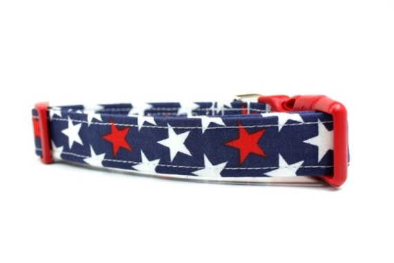 Red, White and Blue Stars Dog Collar / Holiday Dog Collar / 4th of July Dog Collar
