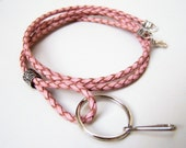 Leather Lanyard, 3mm, Light Pink Bolo Cord with Lobster Clasp, Id Badge Holder, Id Lanyard, Women Lanyard, by Eyewearglamour on Etsy