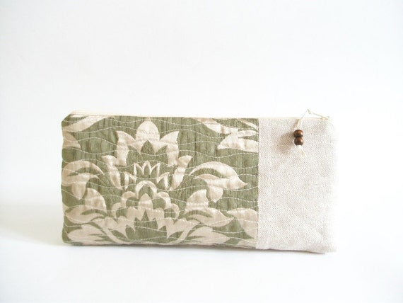 Moss Green Wedding clutch, Bridesmaids gift bag, Cosmetic pouch, OOAK woman wallet