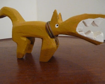 reserved for 5doggies, Aztec Mayan Primitive Wood Carving Sculpture of a War Dog, Abstract Yellow with Big Teeth b3