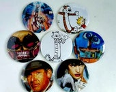 Comic Pocket Mirror Featuring Heman Wall-e Calvin and Hobbes Indiana Jones Ultra Violet Johnny the Homicidal Maniac