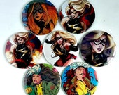 Comic Pocket Mirror Featuring Ms Marvel and Rogue