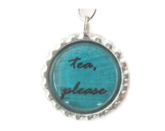 "Tea Infuser - Bottle Cap Charm - tea please - 2"" Mesh Ball"