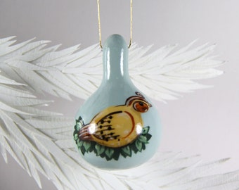 Gourd Ornament 294, Partridge and Pear Tree, Hand Painted Christmas Decor, Hostess Gift, Blue Holiday Art, Mini Painted Natural Gourd Art