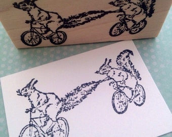 Cycling Squirrels   Wood Mounted Rubber Stamp 2946