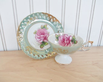 Royal Halsey Teacup and Saucer Set with Roses and Gold Trim
