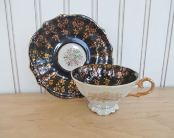 Royal Sealy China Teacup and Saucer Set Black with Gold Trim