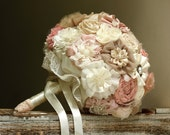 Bridal bouquet, blush tans bouquet, fabric flowers bouquet