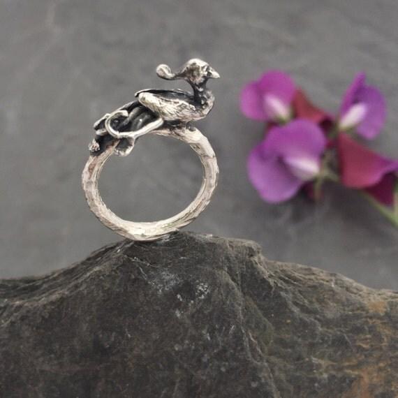Firebird Phoenix sterling silver Twig Ring