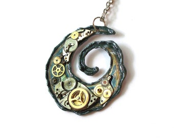 "Steampunk Necklace ""Spiral of Time"""