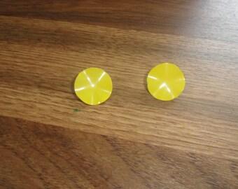 vintage clip on earrings yellow enamel metal
