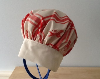 Great Gift - Adult CHEF HAT with RED Lobster Print