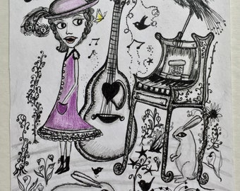 The Music Room - Original Artwork - Whimsical - Musical - childrens art - nursery art - rabbit - illustration - piano - guitar - girl - bird
