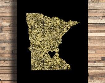 Minnesota With Heart Faux Gold Foil Art Print, Minimalist Art, Home, Office, Bathroom, Dorm, Work Decor, Nursery Art, Housewarming Gift