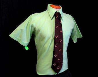 "70s 15"" Torque Manhattan Men's Big Collar S/S Shirt Mint Green Remon D'Urville Tie"