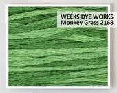 MONKEY GRASS 2168 Hand-dyed embroidery floss : Weeks Dye Works 6- strand WDW overdyed thread cross stitch needlepoint