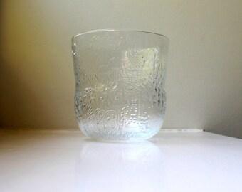 Mid Century Nuutajarvi Glass Bowl / Vase Fauna Finland Oiva Toikka Crystal Art Glass
