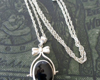 """reversible sterling necklace with bow -  20"""" chain, mother of pearl, onyx"""