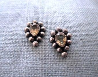 vintage sterling silver earrings - citrine, pierced