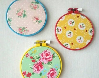 Shabby Chic Fabric Hoop Art, Red, Green and Blue Wall Decor - Set of 3 hoops