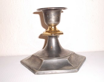 French Vintage Silverplate and Brass Candlestick Candleholder