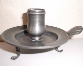 Vintage French Pewter Candlestick Candleholder Circa 1930s Art Deco