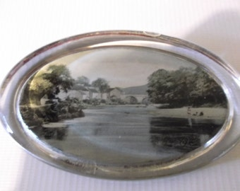 Antique English Glass Paperweight Souvenir Village Scene Circa 1900s