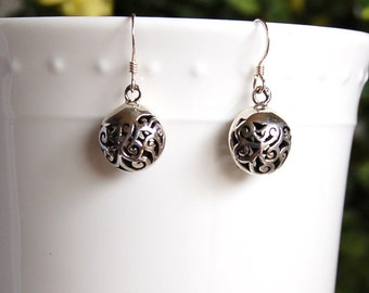Sterling Silver Earrings, Filigree Dangles, Intricate Curls, Flowing Design, Openwork Silver, Sterling Dangles, French Wires,