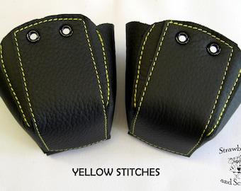 Plain Black leather Roller Derby skate toe guards