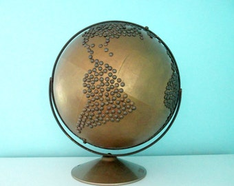 HUGE Vintage Bronze Nailhead Globe - Industrial Home Decor - Painted Old Globe with Metallic Accents