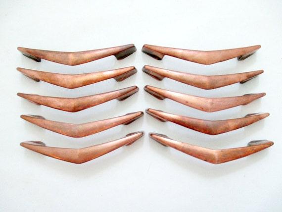 10 Vintage Copper Chevron Drawer Pulls 3