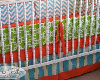 Baby Bedding Dust Ruffle-- Design Your Own-- Tailored Crib Skirt with Border
