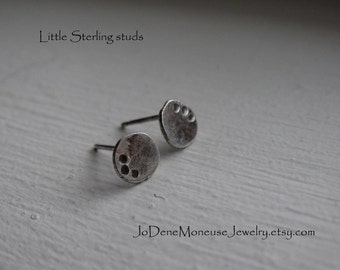 Little sterling studs, rustic hand fabricated earrings in recycled sterling silver, oxidized, hand crafted metalsmith jewelry