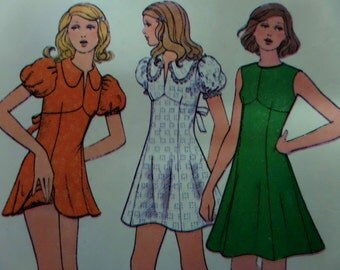 EMPIRE WAIST DRESS Pattern • McCalls 3536 • Junior 7 • Micro Mini Dress & Dance Pants • Sewing Patterns • Vintage Patterns • WhiletheCatNaps