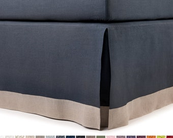 King bedskirt Queen bed skirt Twin Full or Double size bedskirts Custom color and drop Borded with flange Box pleat Color block bedskirt