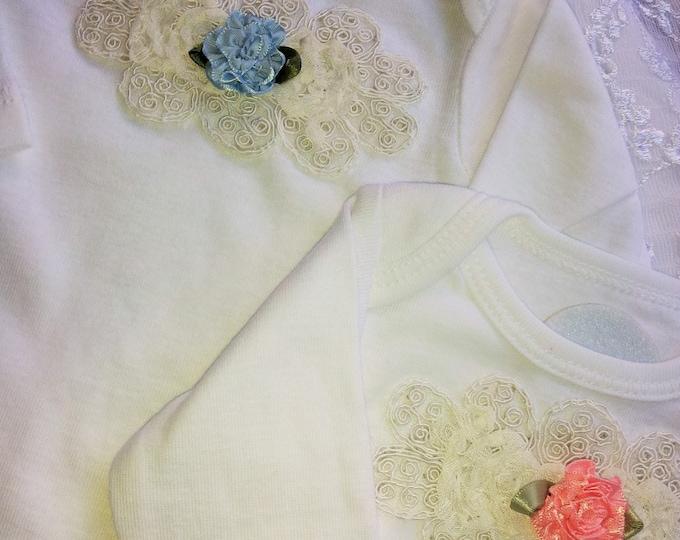 Twin Baby Girl Bodysuit Gift Set