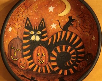 Folk Art Halloween Primitive Wood Bowl - Hand painted Black and Orange Tiger Cat Playing with Mice, Pumpkins, Moon, Stars - MADE TO ORDER