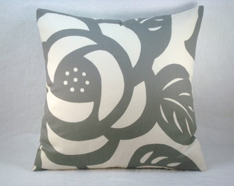 Thomas Paul Grey Decorative Modern Floral Accent Pillow Grey Pillow Duralee Suburban Home 18x18 Pillow Cover
