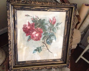 Vintage Antique Water Color Roses - Gesso Frame - Shabby Chippy Chic Cottage