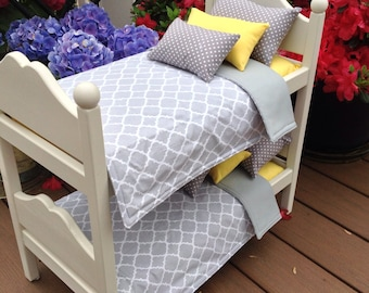 American Girl or Boy Doll: furniture, white bunk bed  w/ bedding