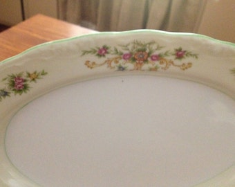 Vintage China Platter With Floral And Green Trim