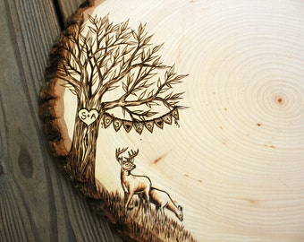 Animal Banner Design: Wood slice rustic theme wedding guest books. Personalized