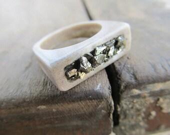 Deer Antler Pyrite Ring -HABITUM- Raw Rough Cut Gemstone Horn Ring Boho Chic