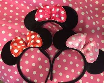 Black Mouse Ears inspired Headband with Bow Pink Hot pink or Red white polka dot 2t 3t 4t 5 6 7 8 10 12 14