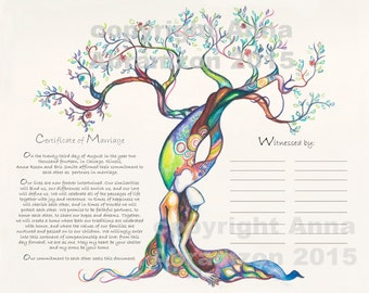Love Tree Marriage Certificate Quaker Certificate Wedding Vows Tree of Life